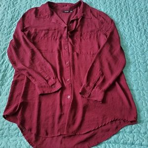 Sheer Wine Button Down